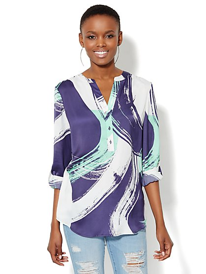 Brushstroke-Print Hi-Lo Tunic - New York & Company
