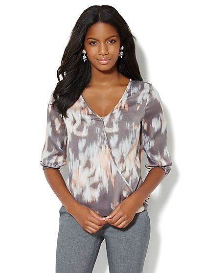 Brushstroke-Print Wrap Blouse - New York & Company