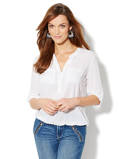Bubble-Hem Popover Blouse