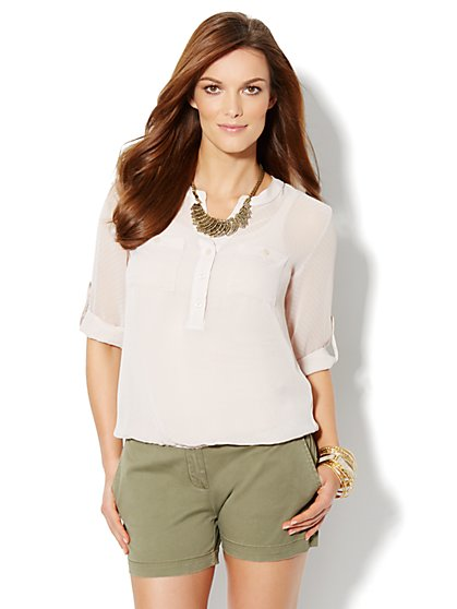 Bubble-Hem Textured Blouse