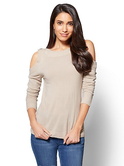 Button-Accent Cold-Shoulder Sweater - New York & Company