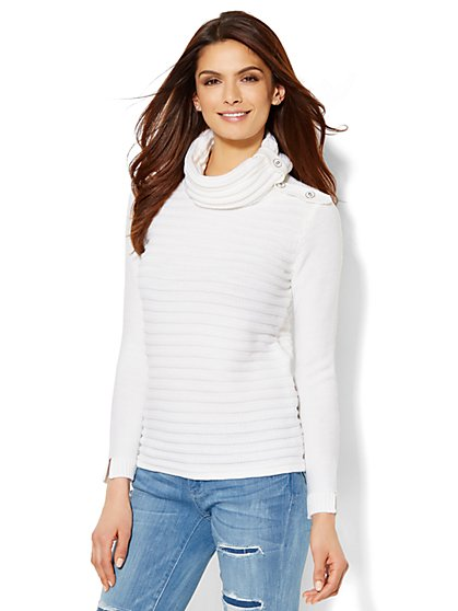 Button-Accent Cowl-Neck Sweater  - New York & Company