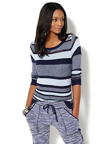 Button-Accent Mixed-Knit Sweater - Striped   - New York & Company