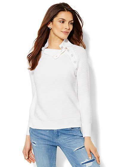 Button-Accent Mock-Neck Sweater  - New York & Company