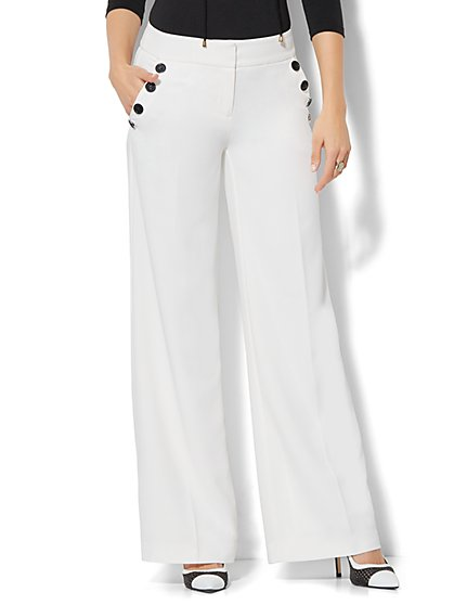Button-Accent Palazzo Pant - Winter White - New York & Company