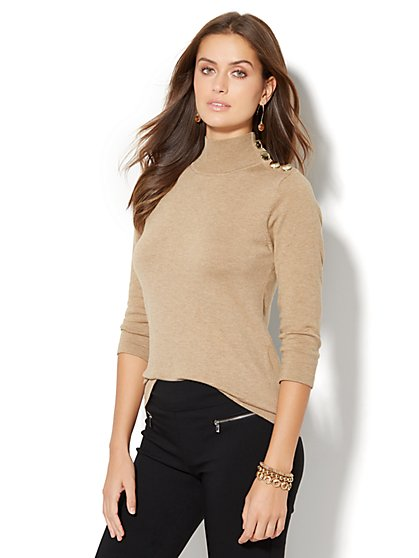 Button-Accent Turtleneck Sweater  - New York & Company