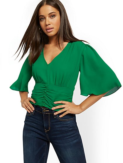 Button-Accent V-Neck Blouse - New York & Company