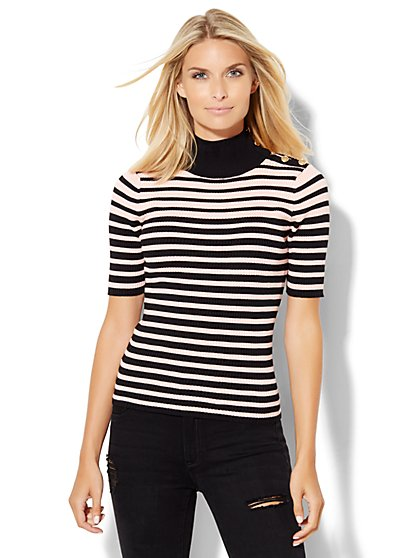 Button-Detail Ribbed Mock-Neck Sweater - Stripe  - New York & Company