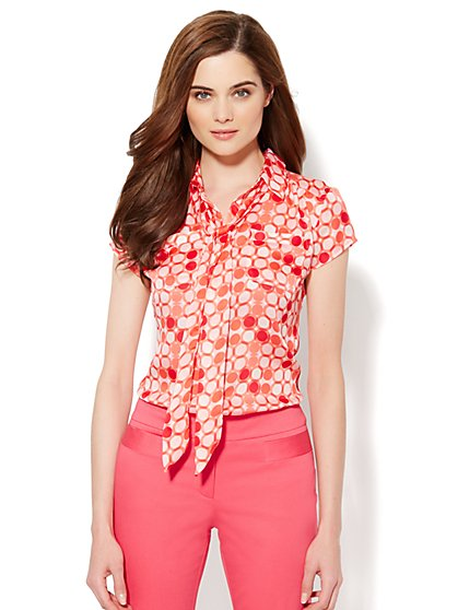 Button-Front Bow Blouse - Dot Print