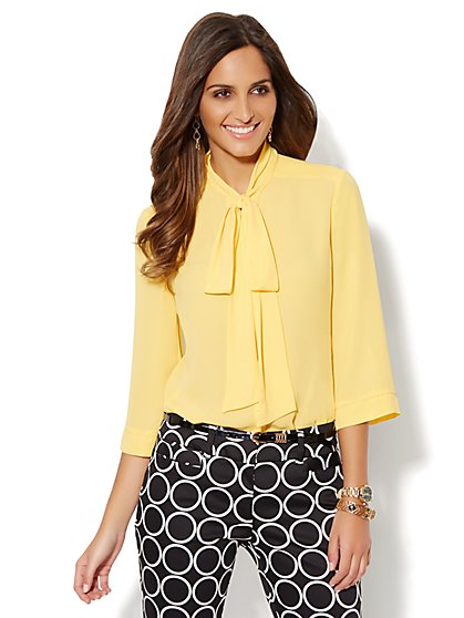 Button-Front Bow Blouse - Solid  - New York & Company