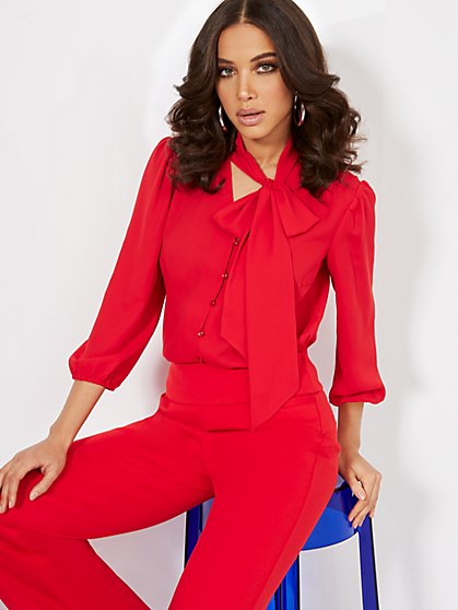 Button-Front Bow Blouse - New York & Company