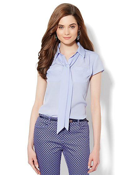 Button-Front Bow Blouse