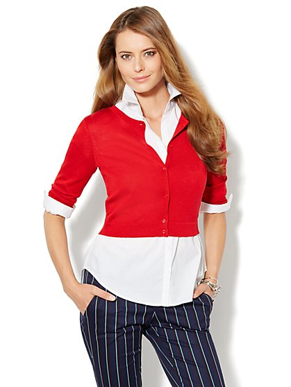 Button-Front Crop Sweater - New York & Company