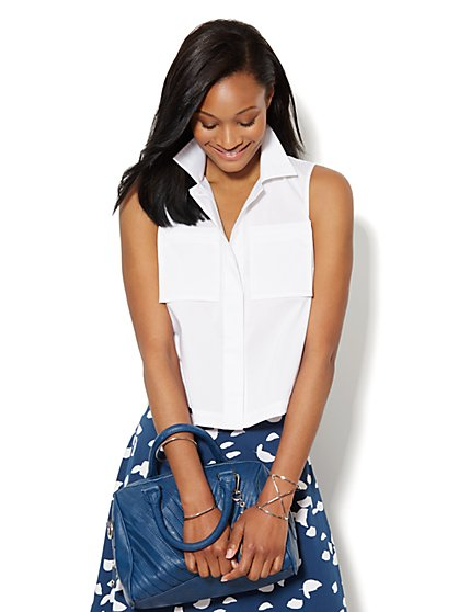 Button-Front Cropped Shirt