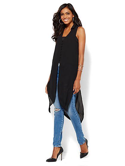 Button-Front Extreme Tunic - New York & Company