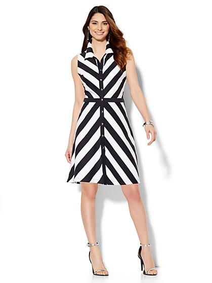 Button-Front Flare Dress - Stripe - Petite   - New York & Company