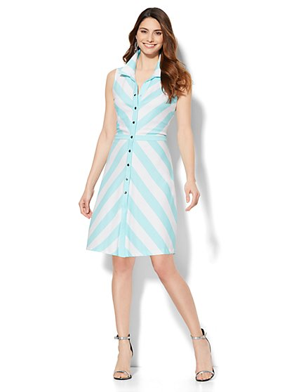 Button-Front Flare Dress - Stripe - Petite   - New York & Company