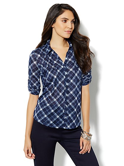 Button-Front Pintuck Shirt - Plaid - New York & Company