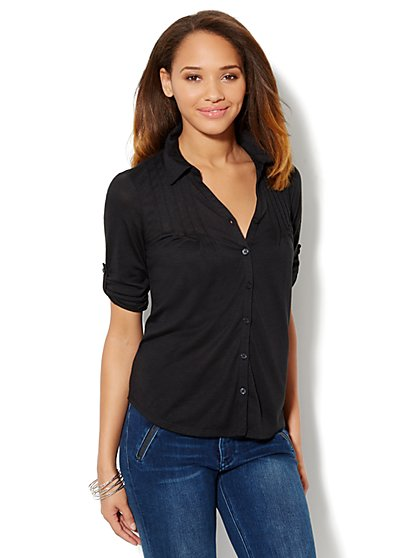 Button-Front Pintuck Shirt - New York & Company