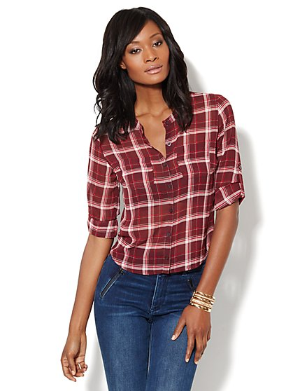 Button-Front Plaid Shirt  - New York & Company