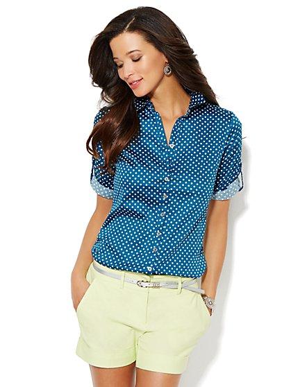 Button-Front Shirt - Polka-Dot  - New York & Company