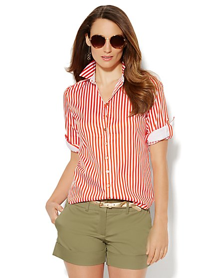Button-Front Shirt - Stripe  - New York & Company