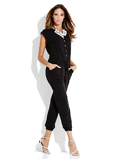 Button-Front Soft Jumpsuit - New York & Company