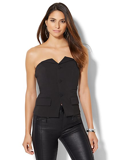 Button-Front Strapless Top  - New York & Company
