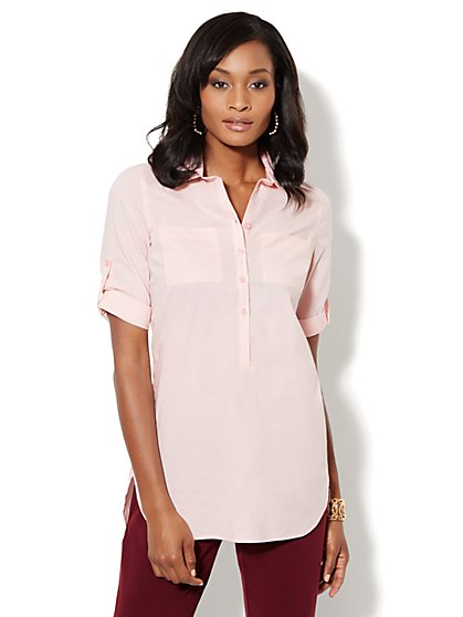 Button-Front Stretch Tunic Shirt - Cherry Blossom - New York & Company