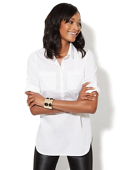 Button-Front Stretch Tunic Shirt - Optic White - New York & Company