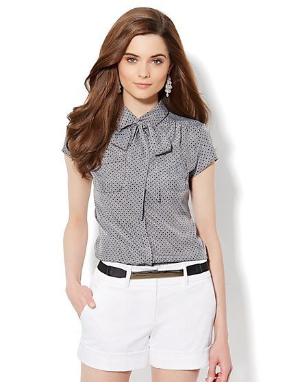 Button-Front Tie-Neck Blouse - Weave Print