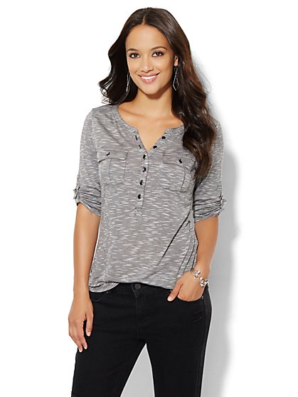 Button Henley Top - Space-Dye   - New York & Company