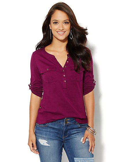 Button Henley Top - New York & Company