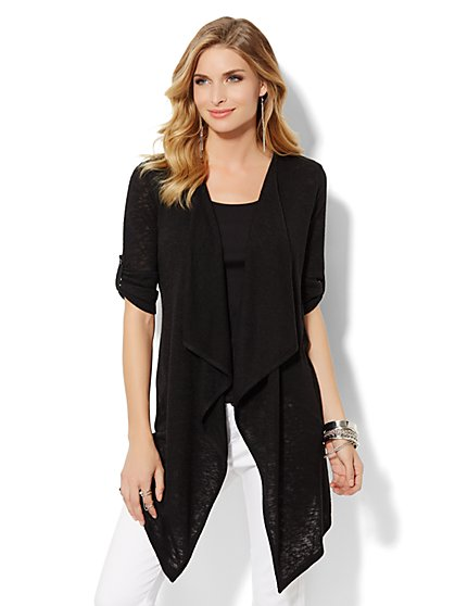Button-Tab Flyaway Cardigan  - New York & Company