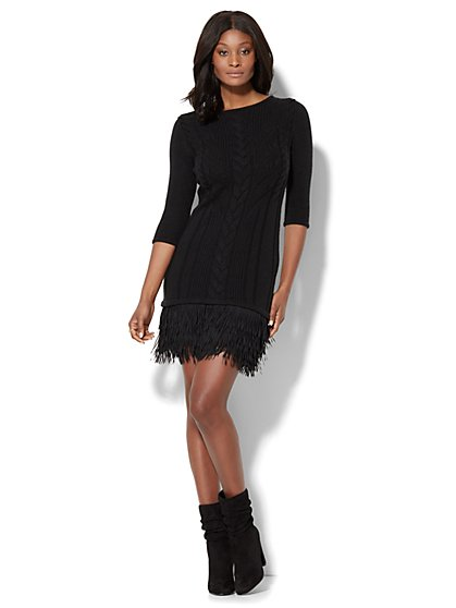 Cable Fringed Sweater Dress - New York & Company