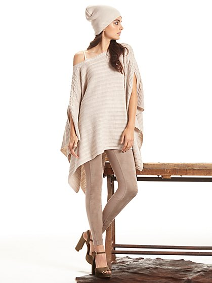 Cable-Knit Bateau-Neck Poncho  - New York & Company