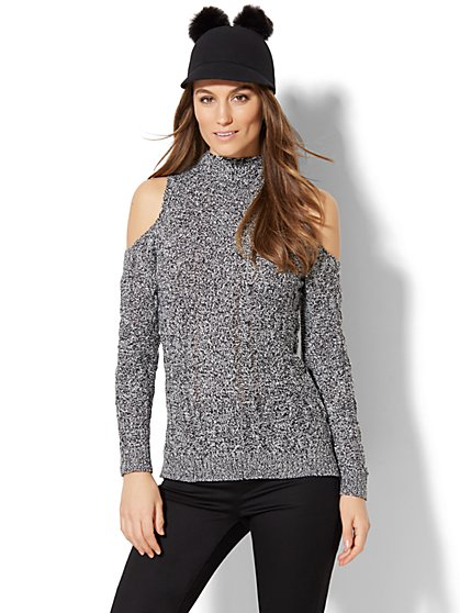 Cable-Knit Cold-Shoulder Sweater - New York & Company