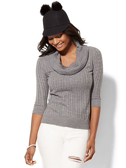 Cable-Knit Cowl-Neck Sweater - New York & Company