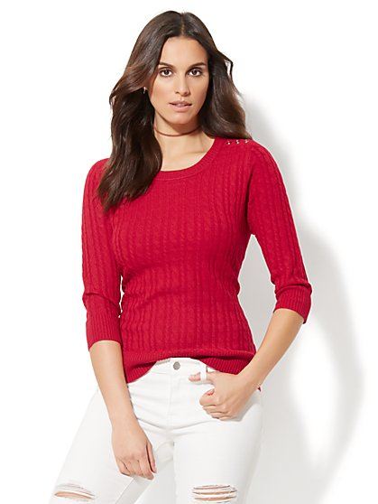 Cable-Knit Crewneck Sweater - New York & Company