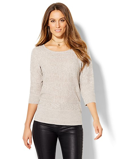 Cable-Knit Dolman Pullover - Marled  - New York & Company