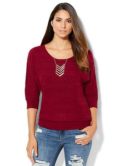 Cable-Knit Dolman Pullover - New York & Company