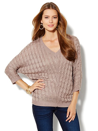 Cable-Knit Dolman-Sleeve Sweater - Lurex - New York & Company