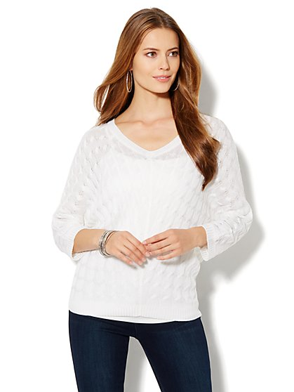 Cable-Knit Dolman-Sleeve Sweater - New York & Company