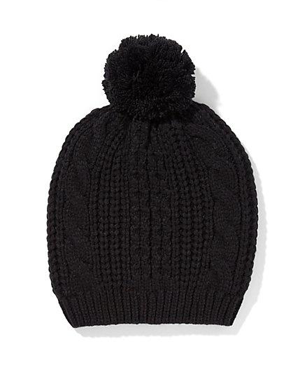 Cable-Knit Pom-Pom Hat  - New York & Company