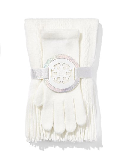 Cable-Knit Scarf & Glove Gift Set   - New York & Company