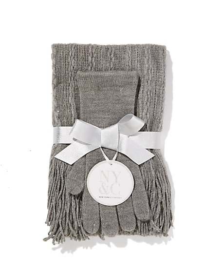 Cable-Knit Scarf & Gloves Gift Set  - New York & Company