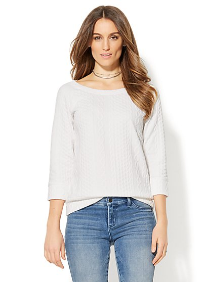 Cable-Knit Sweatshirt - New York & Company