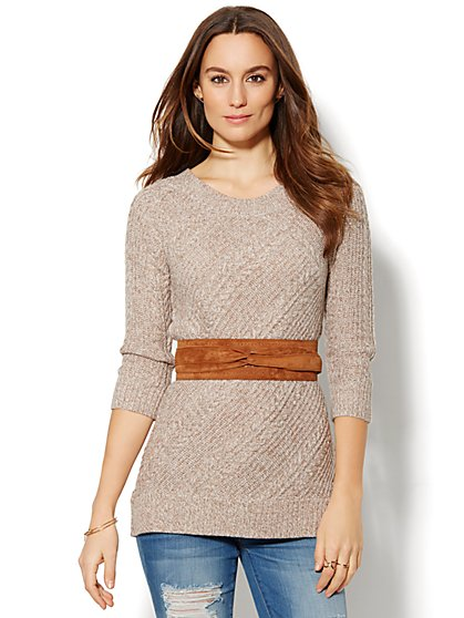 Cable-Knit Tunic - Marled Lurex  - New York & Company