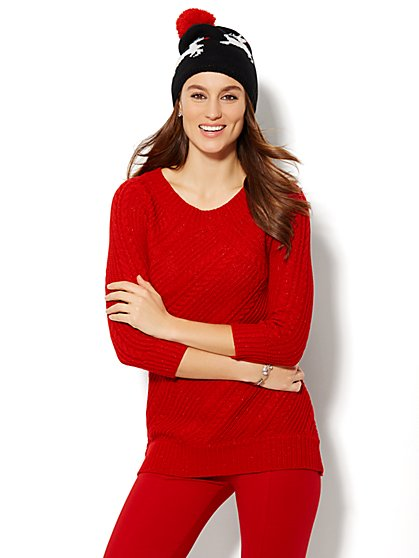 Cable-Knit Tunic - Solid Lurex  - New York & Company