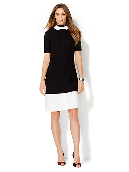Cable-Knit Twofer Sweater Dress  - New York & Company